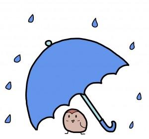 雨宿りするスズメ イラスト