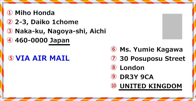 イギリスへのエアメールの宛名の書き方(見本)