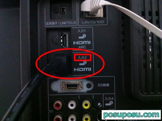 テレビにHDMIケーブルを挿したところ