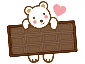 シロクマと板チョコのイラスト