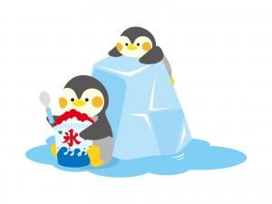 かき氷とペンギンのイラスト