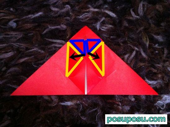 立体りんごの折り紙の折り方12