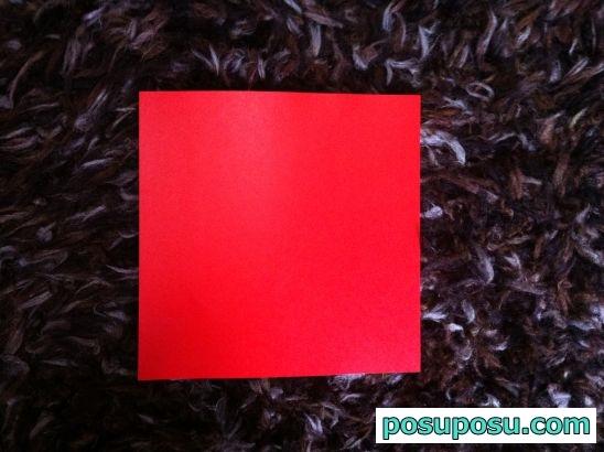 立体りんごの折り紙の折り方01