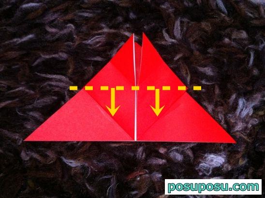 立体りんごの折り紙の折り方10