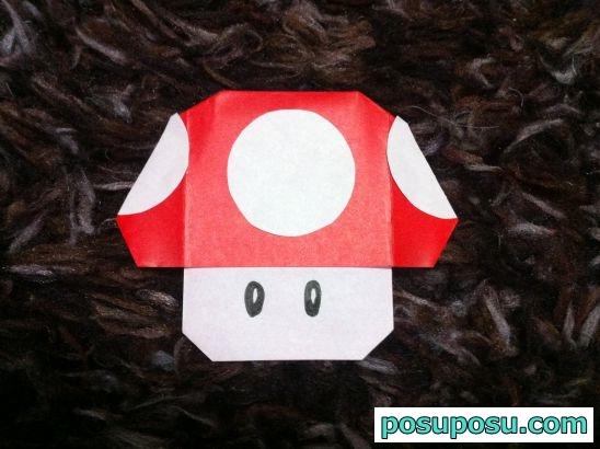 折り紙で作ったマリオのきのこ(スーパーキノコ)