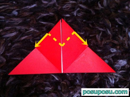 立体りんごの折り紙の折り方09