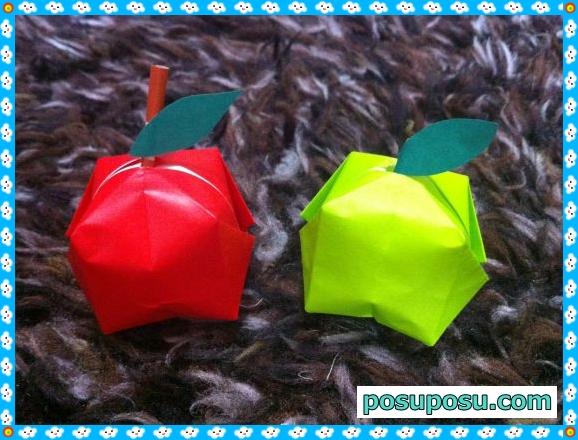 立体りんごの折り紙の折り方(完成図)