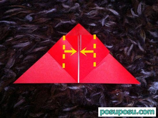 立体りんごの折り紙の折り方11