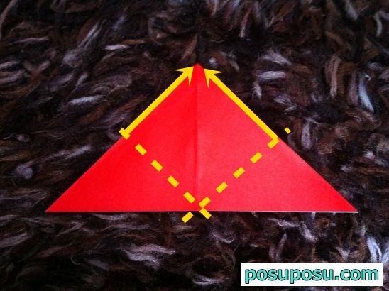 立体りんごの折り紙の折り方08