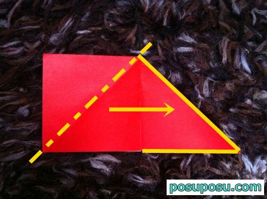 立体りんごの折り紙の折り方07