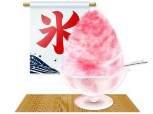 いちごのかき氷のイラスト